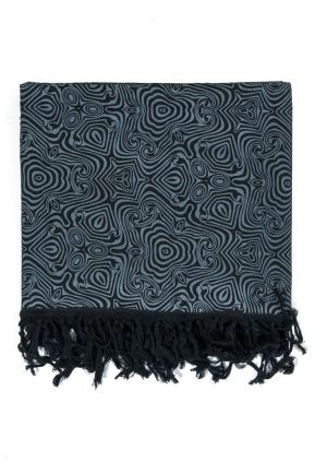 Foulard cheche franges noir gris psychedelic