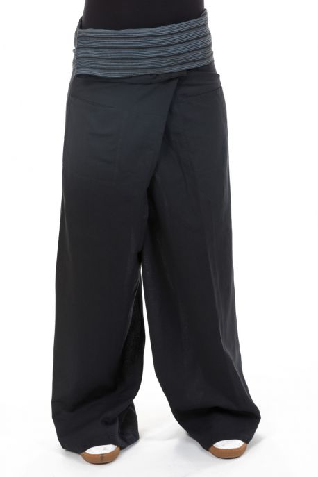 Pantalon thai fisherman noir gris