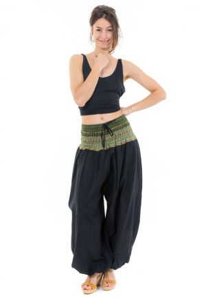 Pantalon sarouel indian chic sari kaki face