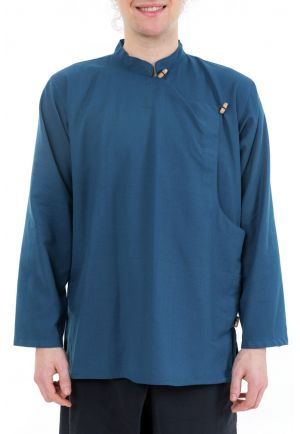 Chemise tibetaine homme bleu petrole