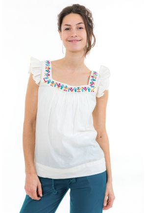 Top femme broderies et manches volantees face