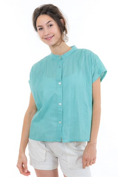 Top chemisier femme broderies et nacre face