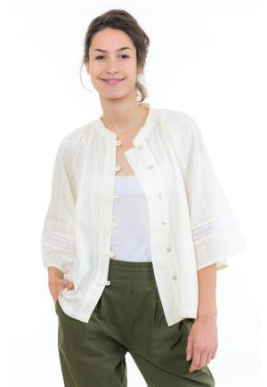 Blouse chemisier dentelle broderies boheme