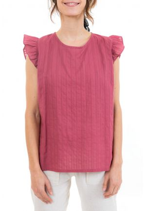 Top femme manches volantees dos original back