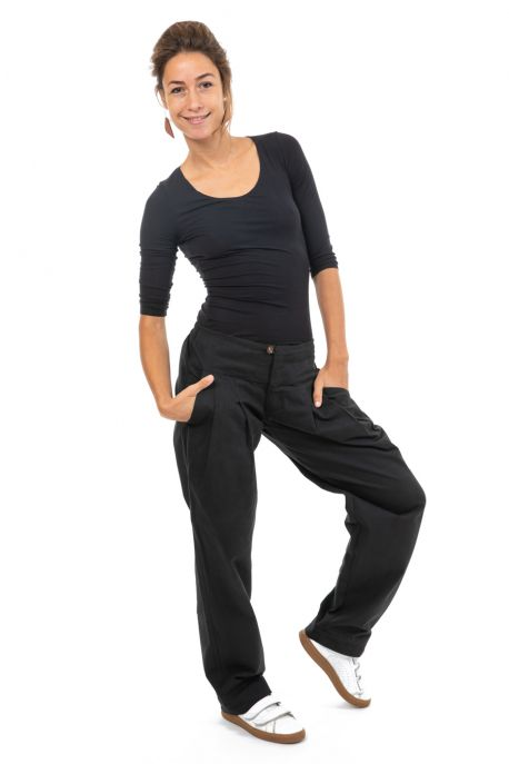 Pantalon ample twill doux noir face