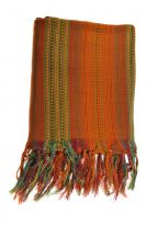 Cheche foulard ethnique multi degrade tisse orange vert
