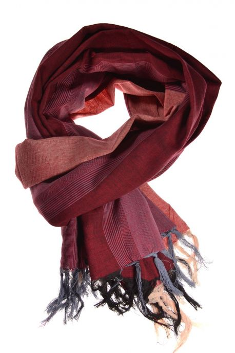 Cheche foulard coton basic ethnic bordeau rose gris