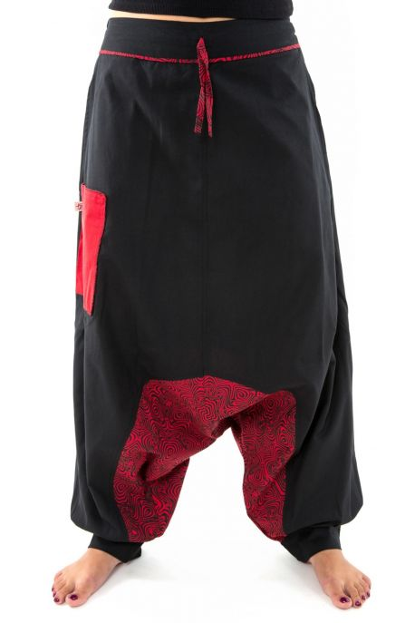 Sarouel aladin ethnic psychedelic noir rouge hiver