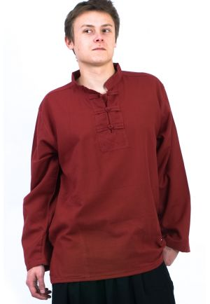 K11521 Chemise homme Col mao nepalaise rouge fonce