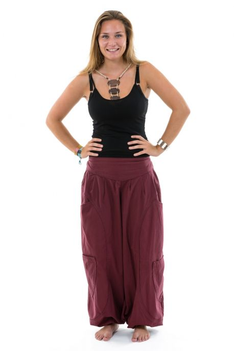 Pantalon sarouel baggy ethnic chic bordeaux Kalaah face