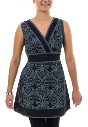 Robe tunique ethnic chic noir gris Devatah full size
