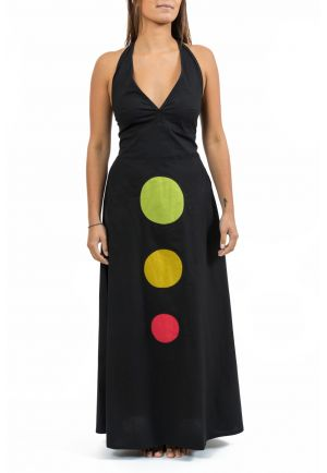 Robe longue dos nu vert jaune rouge Spot full size