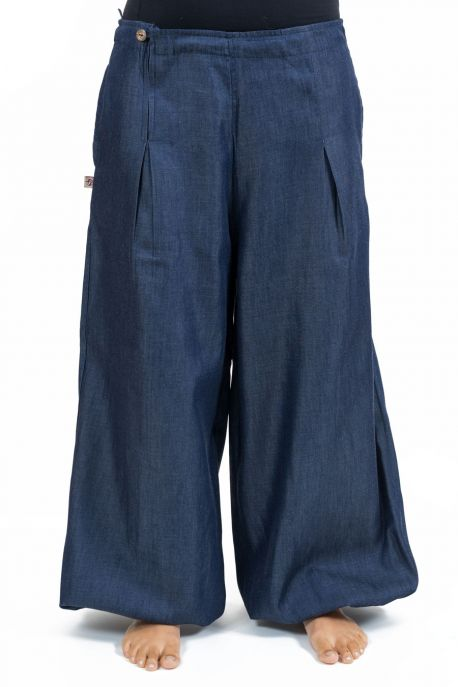 Pantalon ethnique femme bouffant denim souple full size