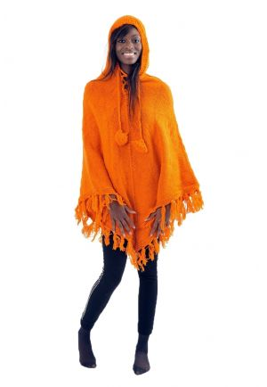 Pancho pure laine douce du Nepal orange