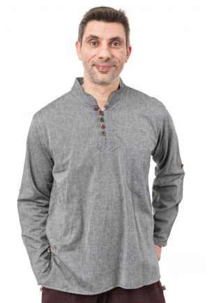 Chemise ethnique col mao manches modulables Thaloh