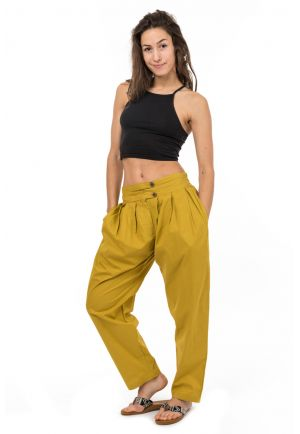 Pantalon carotte bouffant moutarde Bindi